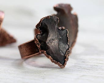 Arrowhead Ring - Electroformed Ring - Wide Band Copper Ring