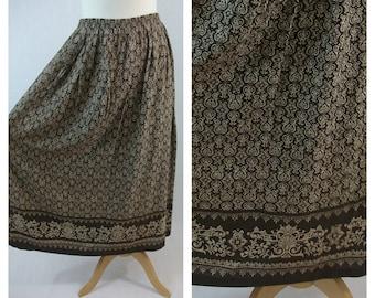 80s vintage midi skirt. Print skirt. Brown and beige skirt. Spring summer skirt. Size M - L.