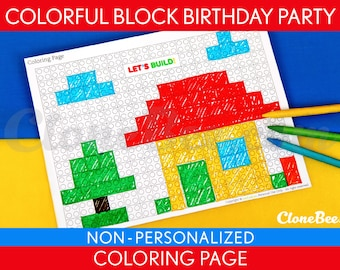 Colorful Blocks Birthday Party - Coloring Page & Bonus: 2 inch Game Prize Tags NonPersonalized Printable // Colorful Blocks - B22Ng