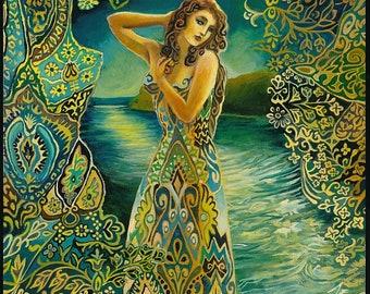 Selene Lunar Goddess 11x14 Fine Art Print Pagan Mythology Psychedelic Greek Moon Goddess Art