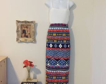Vintage Southwestern Tribal Print Wrap Skirt Size Small-Medium