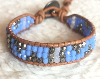 Beaded Leather Bohemian Wrap bracelet with blue and brass tone beads