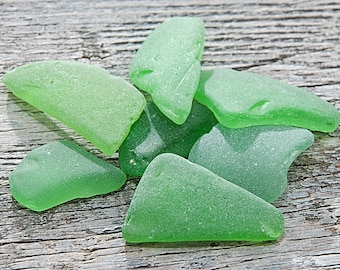 Green genuine sea glass shards Bulk Beach glass decoration Jewelry supplies Sea glass mosaic Jewelry making or shell collection / 7 pcs