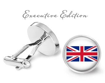 Union Jack Cufflinks - UK Flag Cufflinks - Union Jack Flag Cuff Links - Great Britain Cufflink (Pair) Lifetime Guarantee (S0285)