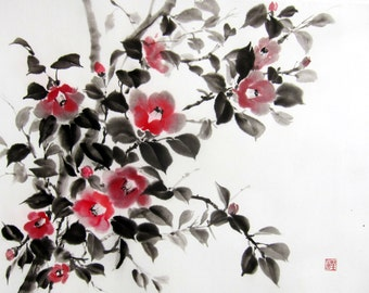 Ink Painting Japanese art Ink art  Asian art Sumi-e Suibokuga  Rice paper, Large 23x18 inch Japanese Camellia