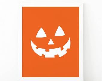 Jack O'Lantern, Halloween Decor, Halloween printable, Pumpkin face wall art, Happy halloween, 8 x 10, Jack O'Lantern print, printable art
