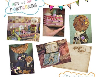 Set of 5 original Postcards - This is the end - cookie cupcake cake gingerbread book funeral tooth freak art doll
