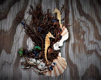 Seahorse Shells Sculpture Seahorse Nick-nack Home decor Artwork Collectibles