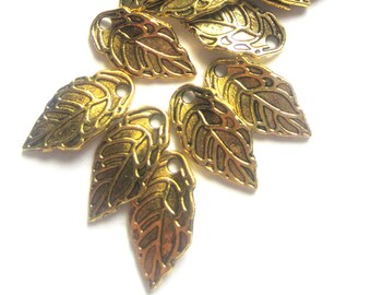 24 leaf charms antique gold earring dangles charm bracelet drops jewelry making pendants 10mm x 15mm CC1