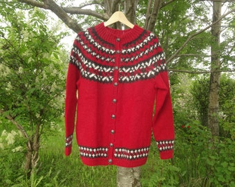 Ready to ship. Red with black and white pattern- open with buttons