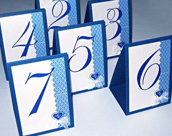 Navy Blue wedding table numbers with your initials and bow Tented Wedding Table Number Signs, Double Sided Table Cards, Tented Table Numbers