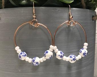 Copper Wire Hoop Earrings with Blue Flower beads