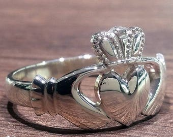 Large Sterling Silver Claddagh ring