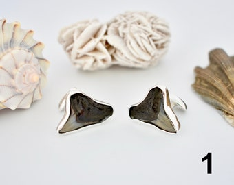 Shark Tooth Cufflinks, Sterling Silver, Jewelry for men, Fossil Jewelry, Ocean Inspired Jewelry, gifts for him, shark tooth jewelry