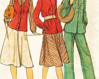 1970s Womens Boho Vest, Shirt or Tunic, Skirt and Pants Vogue Sewing Pattern 9462 Size 12 Bust 34 UnCut Vintage Sewing Patterns