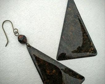Brass  Earrings / Brass Triangle Earrings / Patina / Ice Resin / Large Brass Earrings / Brass Jewelry