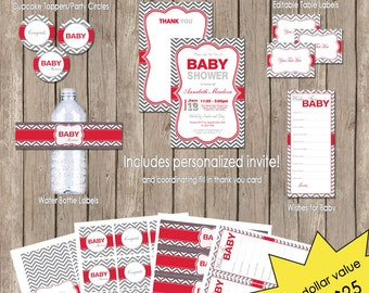 Neutral Baby Shower Red and Grey Chevron Invitation Party Package, gray, neutral baby shower invitation, Printable(PARTIAL INSTANT DOWNLOAD)