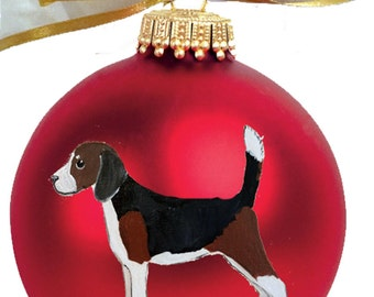 Beagle Dog Hand Painted Christmas Ornament - Can Be Personalized with Name