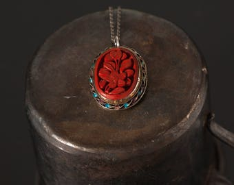 Chinese Export Pendant, Chinese Export Silver Cinnabar Necklace, Chinese Export Necklace, Chinese Export Silver Enamel