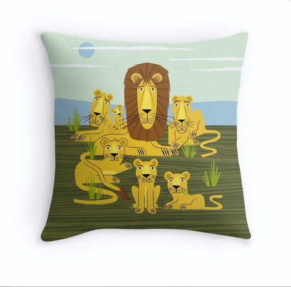 """The Laid Back Lions - illustrated Cushion cover / Throw Pillow cover (16"""" x 16"""") by Oliver Lake"""
