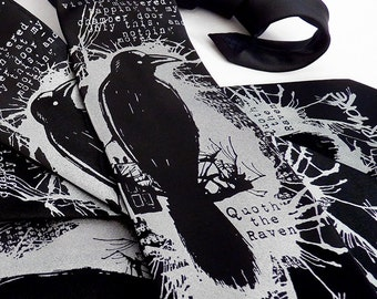 Edgar Allan Poe Raven Necktie, Book Lover Gift, Bookworm Gifts, Literary Gifts, Bookworm for Him, Mens Necktie - Nevermore Raven Necktie