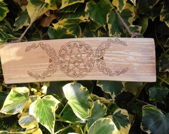 Triple moon Goddess wooden plaque