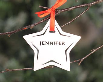 Personalised Custom White Christmas Tree Star Bauble Festive Decoration Ornament Decorations Balls Personalise Name with Handmade Xmas .n.