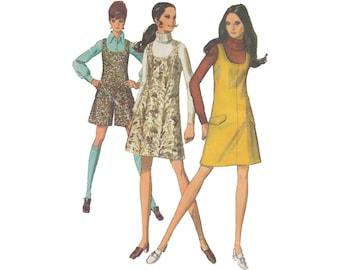 1960s Mod Mini Jumper or Romper Pantdress Vintage Simplicity Sewing Pattern 8344 Size 10 Bust 32.5 U Shaped Neckline