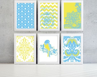 Blue  yellow and white modern wall art,damask pattern with birds and flowers-Set of (6) Prints (Unframed)