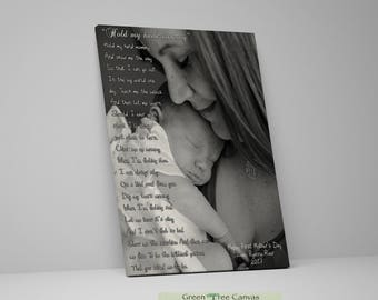 First Mother's Day gift, Hold my hand mommy, Nursery Canvas Art, Mothers day gift, Wall art canvas, Gift for mom from father