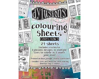 """Dyan Reaveley's Dylusions Coloring Sheets #3 5""""X8"""""""