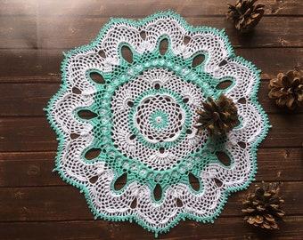 "crochet doily, white crochet doily, round doily, lace tablecloth 12,5"""