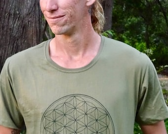 Flower of Life Sacred Geometry T-Shirts - Many Colours, Festival, Flow Arts, Rave, Spiritual, Psy Trance, Doof, Tribal, Meditation, Yoga