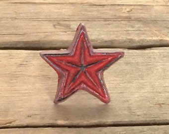 Rustic Cast Iron Star Knob, Red Star Knob, Farmhouse-Style Drawer Pull, Decorative Cast Iron Knob, Farmhouse 134 RED