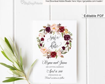 Save the Date Template, Floral Wedding Save the Date, Save the Date Printable, Burgundy Wedding, #A047, Instant Download, Editable PDF