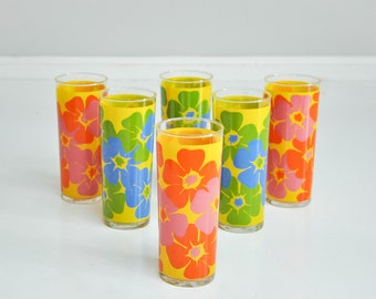Reserved Listing - Mid-Century Floral Iced Tea Glasses