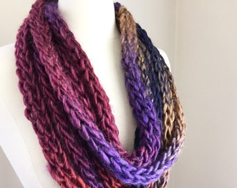 Purple knit scarf, knit cowl scarf, knit rope scarf, purple rope scarf, unique scarf, knit chain scarf, knit wool scarf, purple cowl scarf