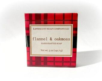 Flannel and Oakmoss Soap, Cold Process Soap Bar, Handmade Soap, Bar Soap, Palm Oil Free, Men's Soap, Phthalate Free, Bergamont, Oakmoss