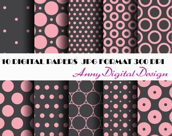 Pink Black Digital POLKA DOTS Paper SCRAPBOOK Paper, Printable Paper, Digital Download, Supplies, Card Making Supplies
