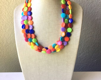 Triple Rainbow Beaded Necklace, Colorful Jewelry, Chunky statement necklace, big beaded necklace, rainbow jewelry, rainbow baby confetti