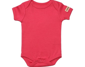 Organic Baby Clothes - Baby Bodysuit - Natural, Pink, Black or Blue - Baby Clothing