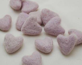 3cm 100% Wool Felt Hearts - 10 Count - Light Thistle Purple