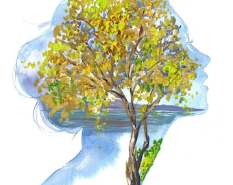 Fall on my Mind, print from original mixed media fashion illustration by Jessica Durrant