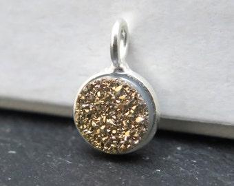 Sterling Silver Gold Druzy Round Charm 12mm