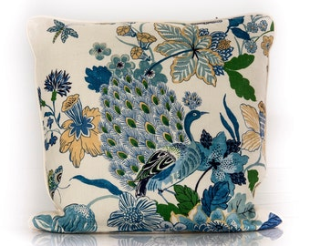 Designer pillow, decorative pillow, Schumacher Fabric ~ LANSDALE BOUQUET from the classic collection, blue cover
