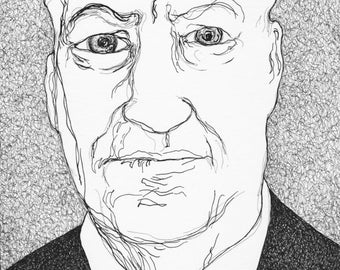 Lynch portrait - drawing in pen and pen Rotring - original drawing
