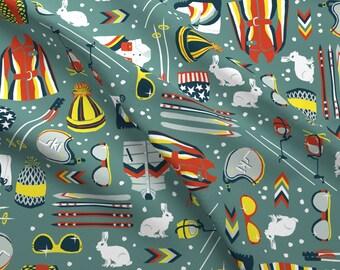 Retro Skiing Fabric - 1970s Retro Ski By Sammyk - Retro Cotton Fabric By The Yard With Spoonflower