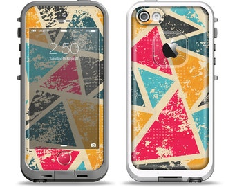 The Chipped Colorful Retro Triangles Apple iPhone LifeProof Case Skin Set