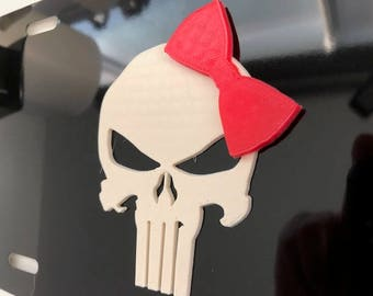 PuNiShEr Skull in 3D  - Black with White with RED Bow License Plate INSERT-  scary punisher style Sniper American Hero