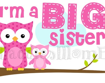 Big Sister Owl DIY Iron on Transfer - Ella